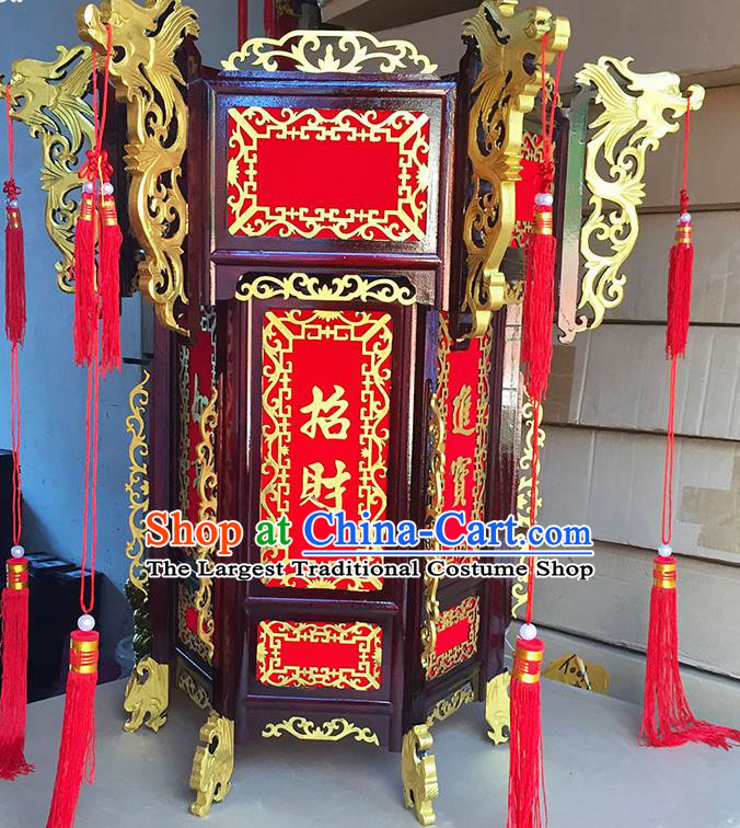 Chinese Traditional New Year Golden Dragon Wood Palace Lantern Asian Handmade Lantern Ancient Lamp