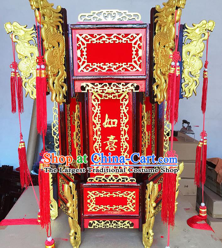 Chinese Traditional New Year Wood Red Palace Lantern Asian Handmade Lantern Ancient Lamp