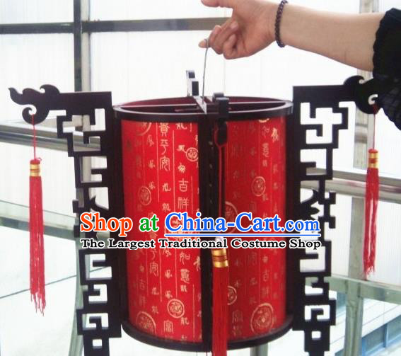 Chinese Traditional New Year Printing Wood Red Palace Lantern Asian Handmade Lantern Ancient Lamp