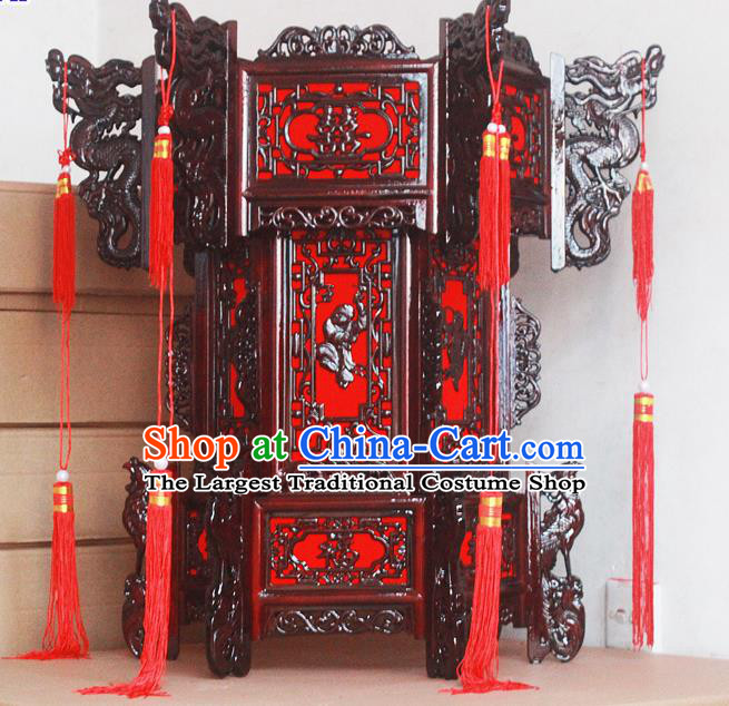 Chinese Traditional New Year Wood Carving Dragons Palace Lantern Asian Handmade Lantern Ancient Lamp