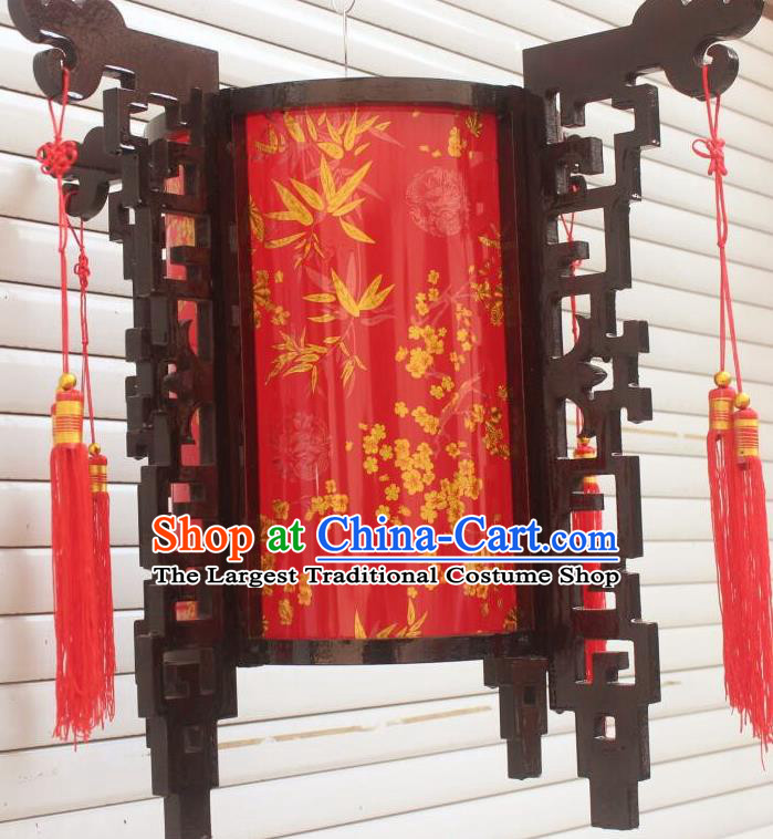 Chinese Traditional New Year Printing Bamboo Plum Wood Red Palace Lantern Asian Handmade Lantern Ancient Lamp