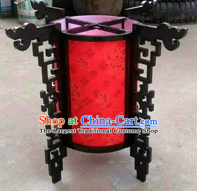 Chinese Traditional New Year Printing Flowers Wood Red Palace Lantern Asian Handmade Lantern Ancient Lamp