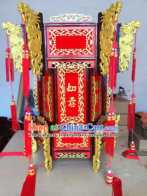 Chinese Traditional New Year Carving Dragon Wood Palace Lantern Asian Handmade Lantern Ancient Lamp