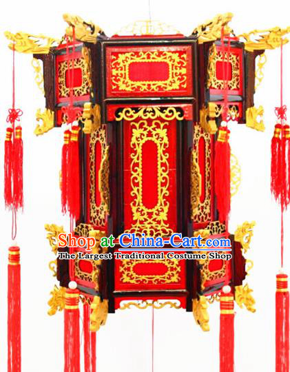 Chinese Traditional New Year Carving Dragon Wood Red Palace Lantern Asian Handmade Lantern Ancient Lamp