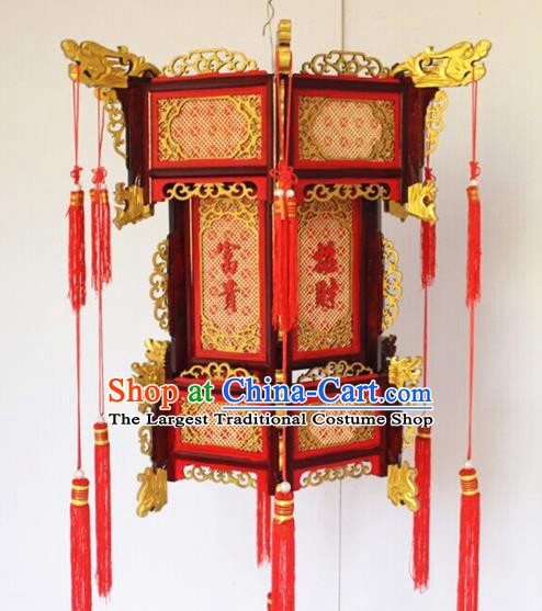 Chinese Traditional New Year Carving Dragon Head Wood Palace Lantern Asian Handmade Lantern Ancient Lamp