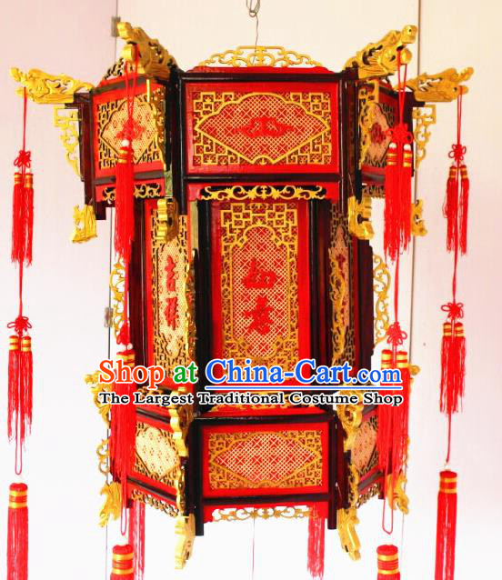 Chinese Traditional New Year Carving Wood Dragon Head Palace Lantern Asian Handmade Lantern Ancient Lamp