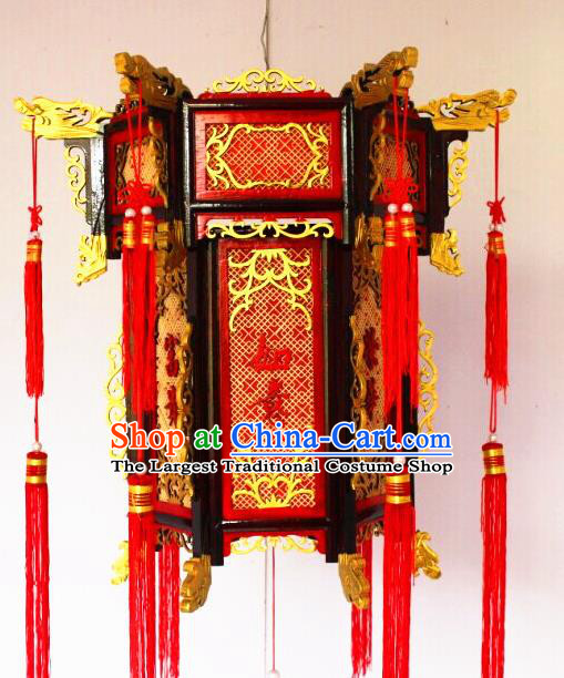 Chinese Traditional Carving Wood Dragon Head Palace Lantern Asian New Year Handmade Lantern Ancient Lamp