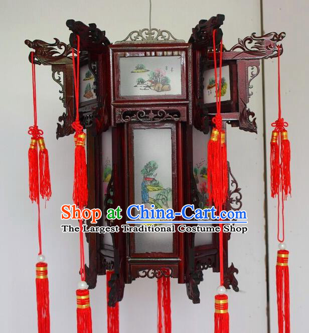 Chinese Traditional Carving Dragon Head Palace Lantern Asian New Year Handmade Lantern Ancient Lamp