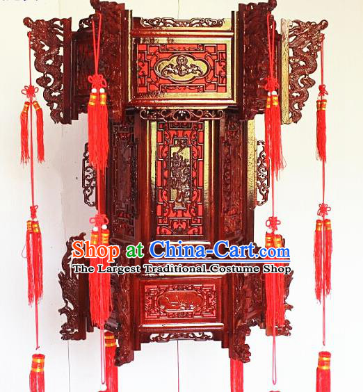 Chinese Traditional Carving Rosewood Palace Lantern Asian New Year Handmade Lantern Ancient Lamp