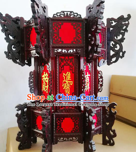 Chinese Traditional Carving Rosewood Palace Lantern Asian New Year Handmade Red Lantern Ancient Lamp