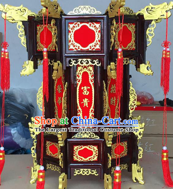 Chinese Traditional Carving Rosewood Golden Dragon Palace Lantern Asian New Year Handmade Lantern Ancient Lamp