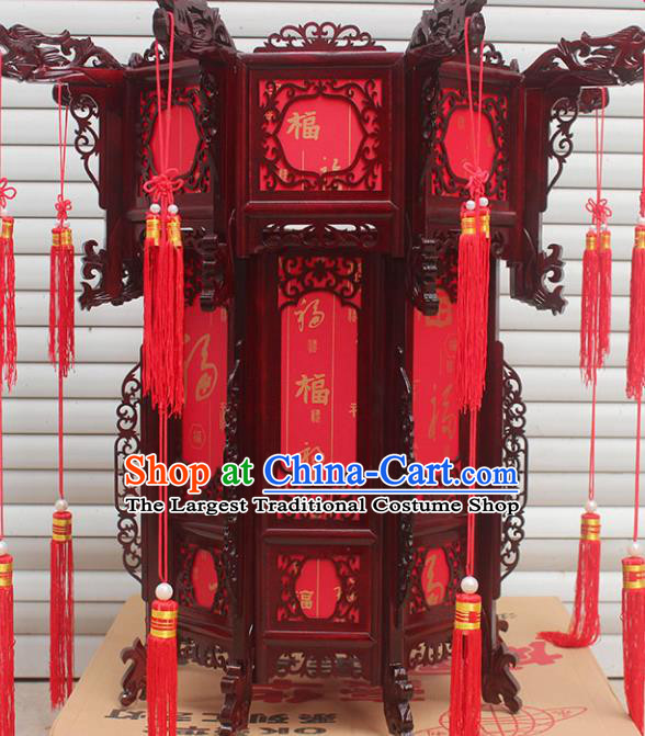 Chinese Traditional Handmade Carving Rosewood Dragon Palace Lantern Asian New Year Lantern Ancient Lamp