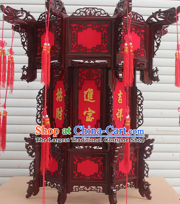 Chinese Traditional Handmade Carving Dragon Rosewood Palace Lantern Asian New Year Lantern Ancient Lamp