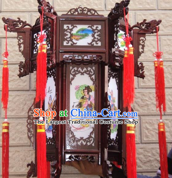 Chinese Traditional Handmade Printing Eight Immortals Carving Rosewood Palace Lantern Asian New Year Lantern Ancient Lamp