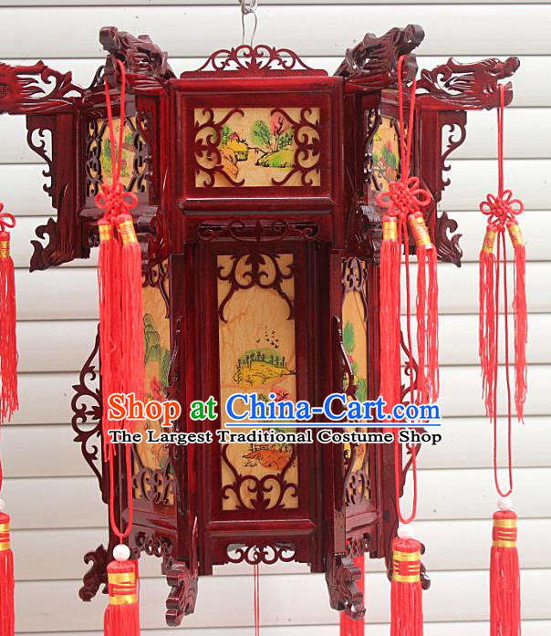 Chinese Traditional Handmade Landscape Painting Carving Rosewood Palace Lantern Asian New Year Lantern Ancient Lamp