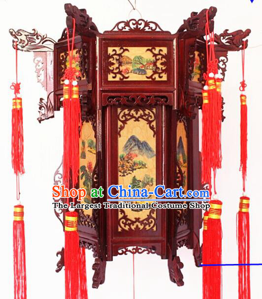 Chinese Traditional Handmade Carving Rosewood Landscape Painting Palace Lantern Asian New Year Lantern Ancient Lamp