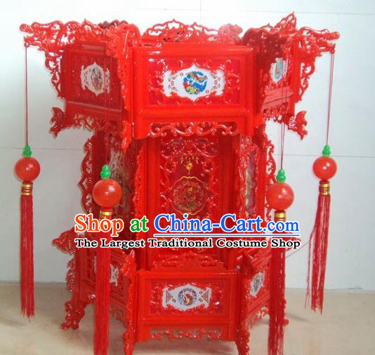 Chinese Traditional Handmade Red Plastic Palace Lantern Asian New Year Lantern Ancient Lamp