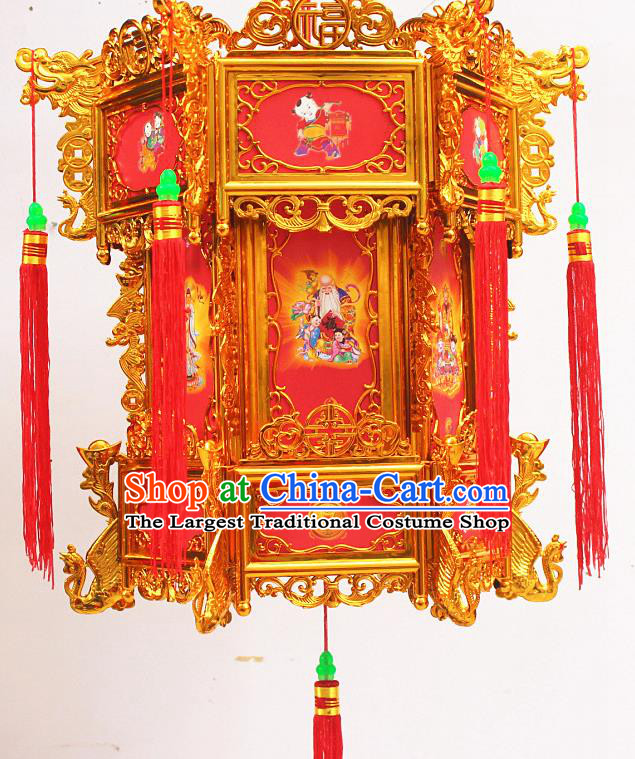 Chinese Traditional Handmade Plastic Printing Red Palace Lantern Asian New Year Lantern Ancient Ceiling Lamp