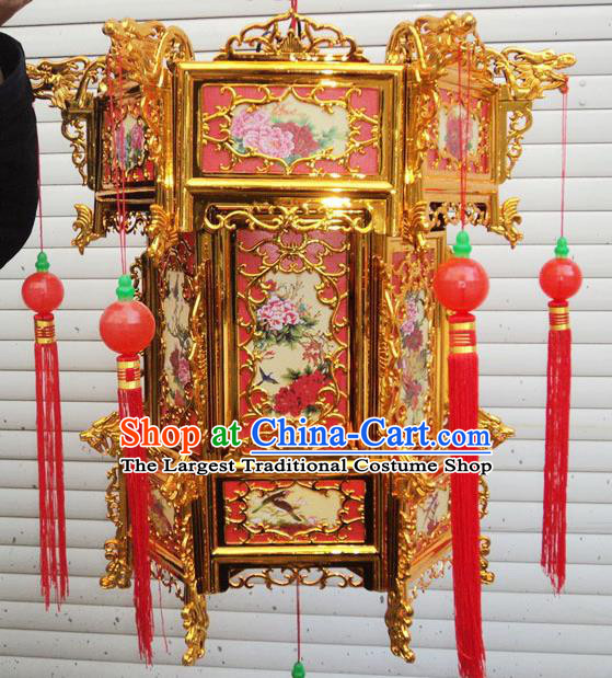 Chinese Traditional Handmade Plastic Printing Peony Red Palace Lantern Asian New Year Lantern Ancient Ceiling Lamp
