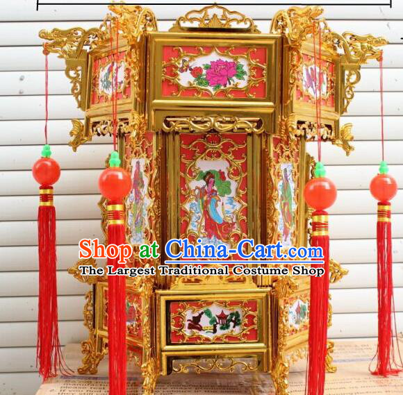Chinese Traditional Handmade Plastic Printing Eight Immortals Palace Lantern Asian New Year Lantern Ancient Ceiling Lamp