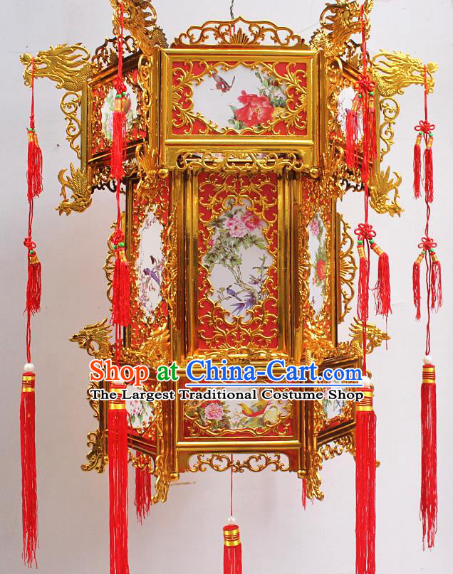 Chinese Traditional Handmade Plastic Printing Peony Bird Palace Lantern Asian New Year Lantern Ancient Ceiling Lamp