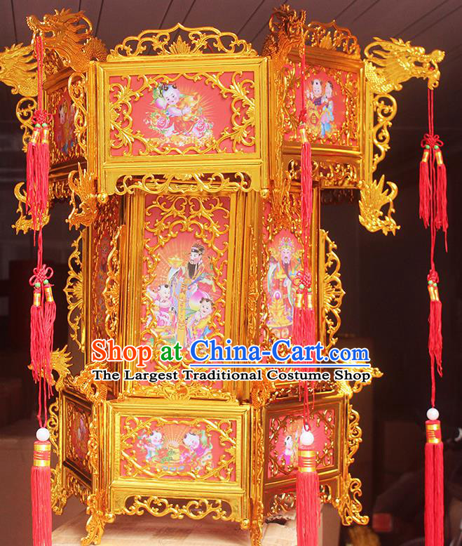 Chinese Traditional Handmade Plastic Printing Wealth God Palace Lantern Asian New Year Lantern Ancient Ceiling Lamp