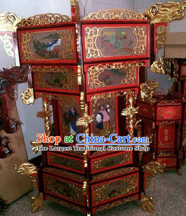 Chinese Traditional Handmade Carving Eight Immortals Wood Palace Lantern Asian New Year Lantern Ancient Ceiling Lamp
