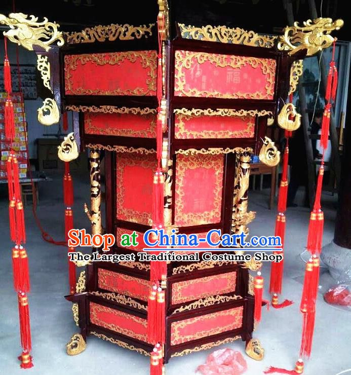Chinese Traditional Handmade Carving Dragons Wood Red Palace Lantern Asian New Year Lantern Ancient Ceiling Lamp