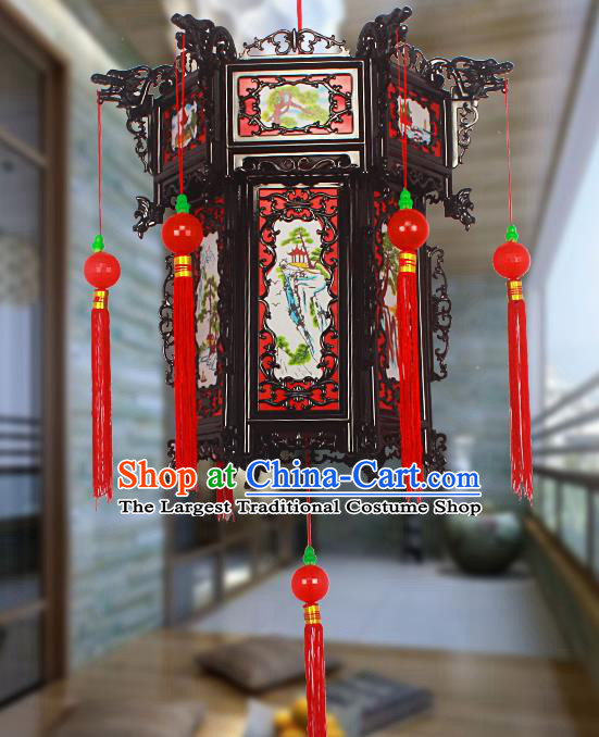 Chinese Traditional Handmade Red Tassel Printing Plastic Palace Lantern Asian New Year Lantern Ancient Ceiling Lamp