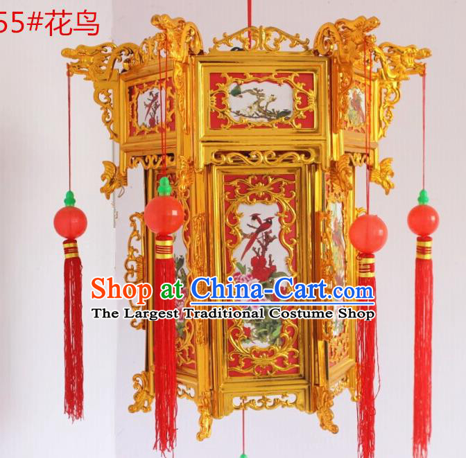 Chinese Traditional Handmade Carving Printing Flowers Birds Palace Lantern Asian New Year Red Lantern Ancient Ceiling Lamp
