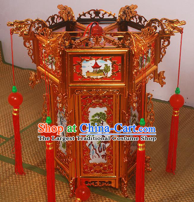 Chinese Traditional Handmade Printing Pine Palace Lantern Asian New Year Lantern Ancient Ceiling Lamp
