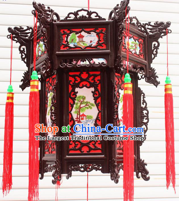 Chinese Traditional Handmade Red Palace Lantern Asian New Year Lantern Ancient Ceiling Lamp