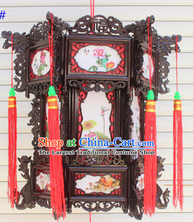 Chinese Traditional Handmade Printing Lotus Peony Palace Lantern Asian New Year Lantern Ancient Ceiling Lamp