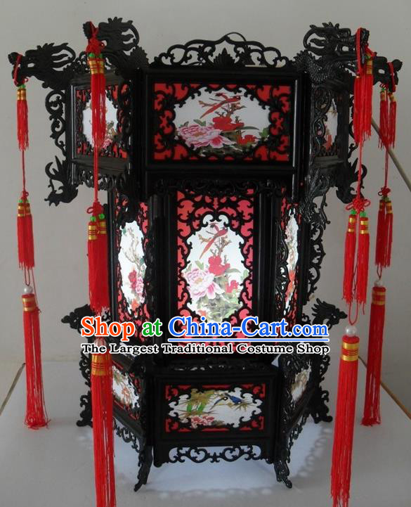 Chinese Traditional Handmade Printing Birds Peony Palace Lantern Asian New Year Lantern Ancient Ceiling Lamp