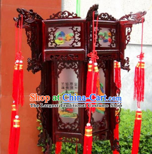 Chinese Traditional Handmade Printing Palace Lantern Asian New Year Lantern Ancient Ceiling Lamp