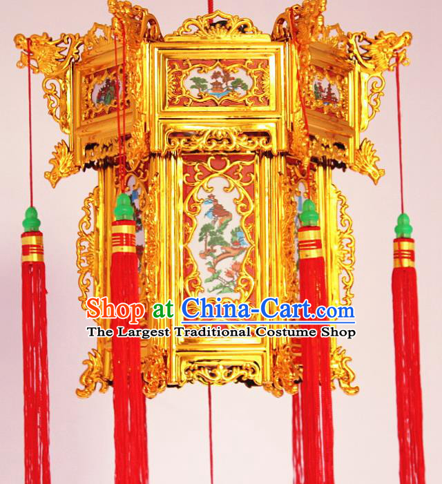 Chinese Traditional Handmade Carving Printing Palace Lantern Asian New Year Red Lantern Ancient Ceiling Lamp