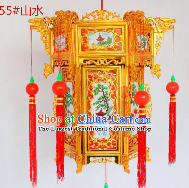 Chinese Traditional Handmade Carving Printing Landscape Palace Lantern Asian New Year Red Lantern Ancient Ceiling Lamp