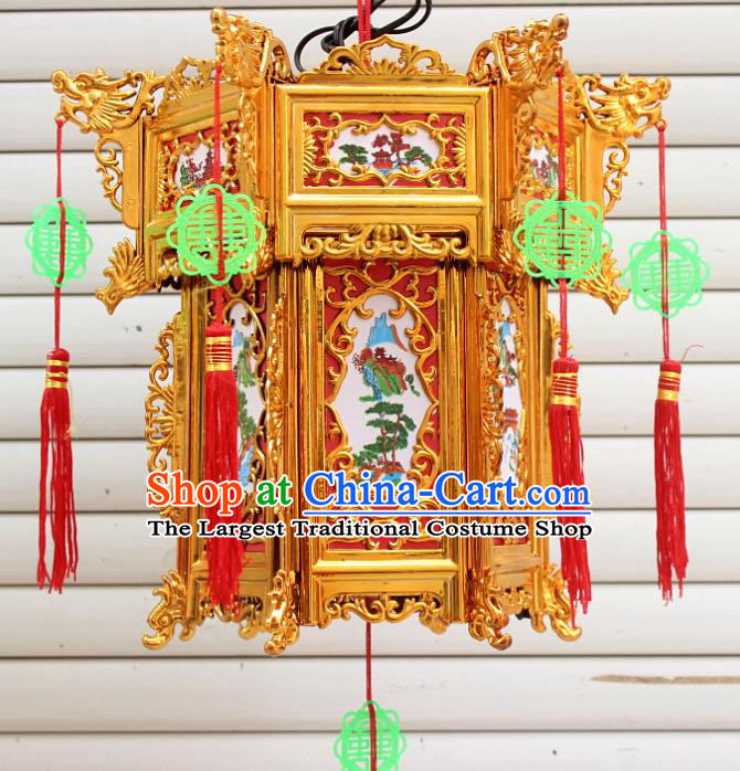 Chinese Traditional Handmade Carving Printing Golden Palace Lantern Asian New Year Lantern Ancient Ceiling Lamp