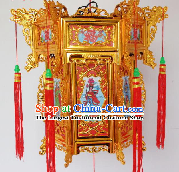 Chinese Traditional Handmade Carving Printing Eight Immortals Palace Lantern Asian New Year Red Lantern Ancient Ceiling Lamp