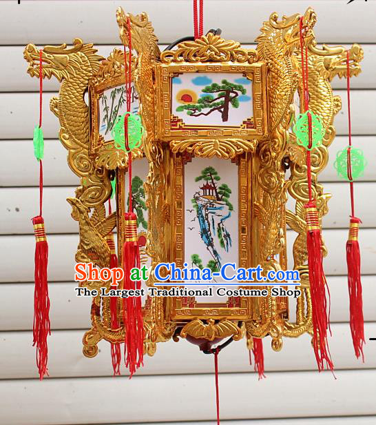 Chinese Traditional Handmade Carving Golden Dragons Palace Lantern Asian New Year Lantern Ancient Ceiling Lamp