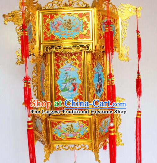 Chinese Traditional Handmade Carving Dragons Blue Palace Lantern Asian New Year Lantern Ancient Ceiling Lamp