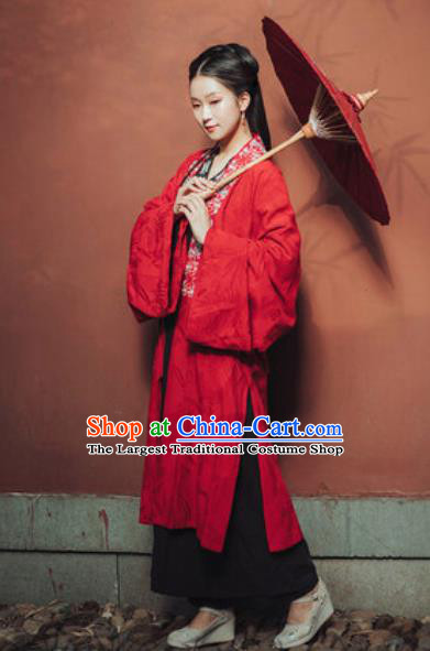Traditional Chinese Song Dynasty Nobility Lady Red Hanfu Dress Ancient Royal Princess Historical Costumes for Women