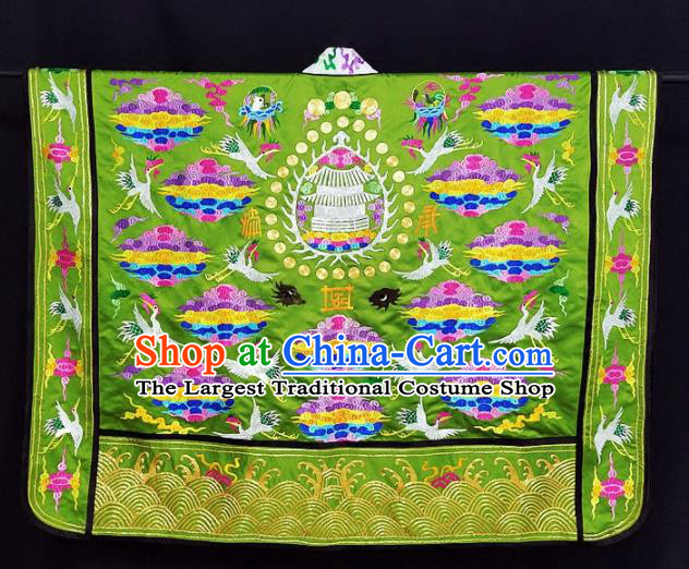 Chinese Ancient Taoist Priest Embroidered Cloud Crane Green Cassocks Traditional Taoism Vestment Costume