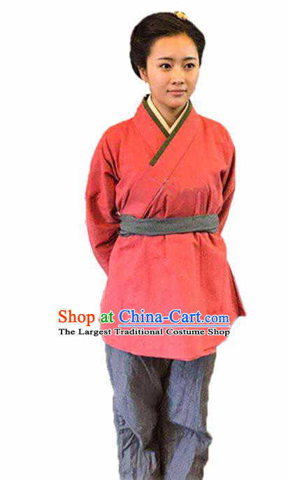 Chinese Traditional Han Dynasty Female Civilian Pink Costume Ancient Farmwife Clothing for Women