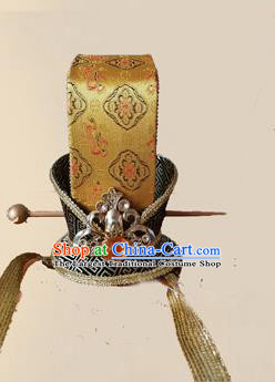 Chinese Ancient Minister Golden Hairdo Crown Traditional Han Dynasty Nobility Childe Headwear for Men