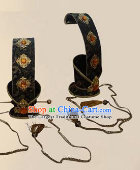 Chinese Ancient Prince Black Hairdo Crown Traditional Han Dynasty Nobility Childe Headwear for Men