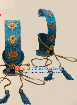 Chinese Ancient Prince Blue Hairdo Crown Traditional Han Dynasty Nobility Childe Headwear for Men