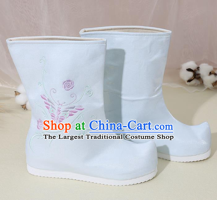 Chinese National Embroidered Butterfly Blue Boots Hanfu Shoes Traditional Princess Shoes Ancient Shoes for Women