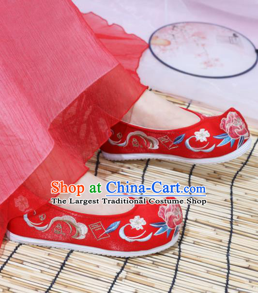 Chinese National Embroidered Peony Red Shoes Ancient Traditional Princess Shoes Wedding Hanfu Shoes for Women
