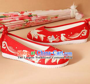 Chinese National Wedding Embroidered Fish Red Shoes Ancient Traditional Princess Shoes Hanfu Shoes for Women